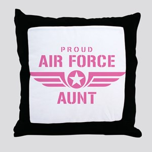 Proud Air Force Aunt W [pink] Throw Pillow
